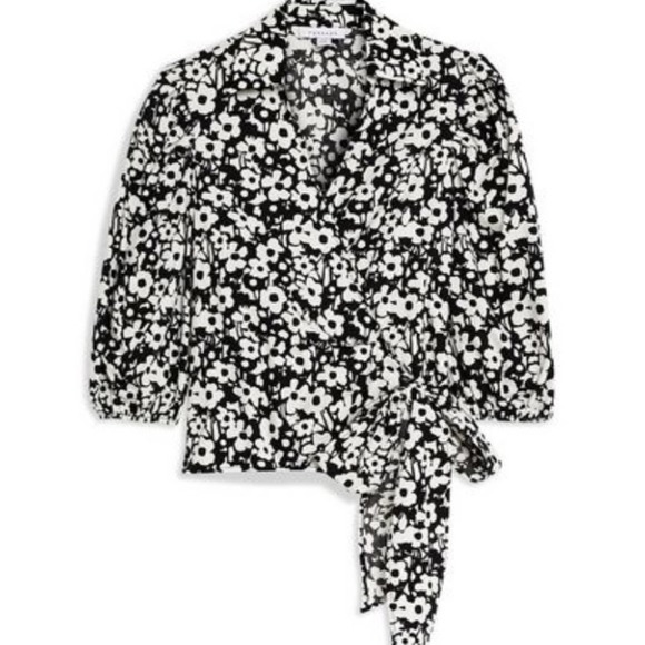 Topshop Black & White Floral Wrap Puff Sleeves Top